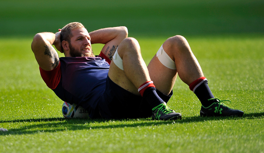 England's James Haskell during the Captains Run<br /> <br /> Photographer Ashley Western/CameraSport<br /> <br /> Rugby Union - 2015 Rugby World Cup Pool A - Training session - England v Australia - Friday 2nd October 2015 - Twickenham<br /> <br /> &copy; CameraSport - 43 Linden Ave. Countesthorpe. Leicester. England. LE8 5PG - Tel: +44 (0) 116 277 4147 - admin@camerasport.com - www.camerasport.com