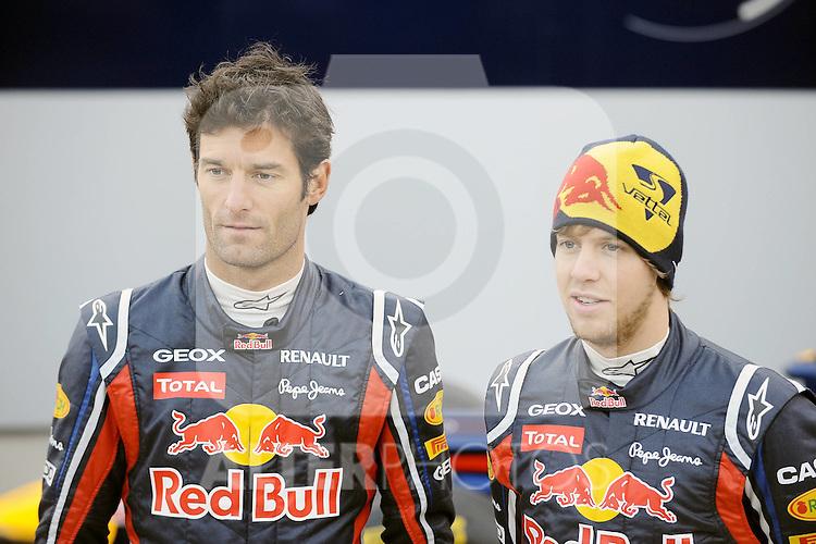 01.02.2011, Street Circuit. Jerez, ESP, Formel 1 Test 1 Valencia 2011,  im Bild  Red Bull RB7 Launch 2011 - Mark Webber (AUS), Red Bull Racing - Sebastian Vettel (GER), Red Bull Racing  Foto: nph / Dieter Mathis< gemischt >