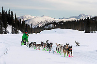 Ryan Redington on the trail shortly after leavingthe Rainy Pass checkpoint in the Alaska Range during the 2019 Iditarod on Monday, March 4th 2019.<br /> <br /> Photo by Jeff Schultz/  (C) 2019  ALL RIGHTS RESERVED