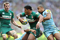Manu Tuilagi is double-tackled. Aviva Premiership Final, between Leicester Tigers and Northampton Saints on May 25, 2013 at Twickenham Stadium in London, England. Photo by: Patrick Khachfe / Onside Images