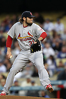 Lance Lynn #31 of the St.Louis Cardinals pitches against the Los Angeles Dodgers at Dodger Stadium on May 18, 2012 in Los Angeles,California. Los Angeles defeated St.Louis 6-5.(Larry Goren/Four Seam Images)