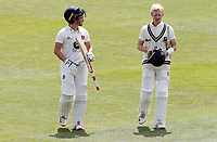 Ollie Robinson (l) and Jordan Cox (r) of Kent leave the field at the lunch time interval during Kent CCC vs Essex CCC, Friendly Match Cricket at The Spitfire Ground on 27th July 2020