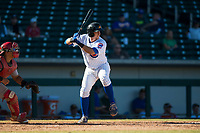 Mesa Solar Sox catcher P.J. Higgins (12), of the Chicago Cubs organization, at bat during an Arizona Fall League game against the Surprise Saguaros at Sloan Park on November 1, 2018 in Mesa, Arizona. Surprise defeated Mesa 5-4 . (Zachary Lucy/Four Seam Images)
