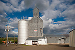 Corrugated grain elevator and grain storage tank, Elgin, Ore.