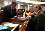 Senate Majority Leader Steven Horsford, D-North Las Vegas, and Minority Leader Mike McGinness, R-Fallon, talk on the Senate floor Monday, May 30, 2011, at the Legislature in Carson City, Nev. Lawmakers continue to work with the governor on the state budget, including talks to extend $679 million worth of taxes that were set to expire Jun 30. .Photo by Cathleen Allison