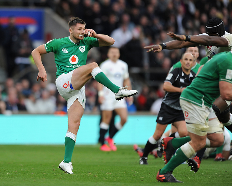 Ross Byrne of Ireland kicks clear during the Guinness Six Nations match between England and Ireland at Twickenham Stadium on Sunday 23rd February 2020 (Photo by Rob Munro/Stewart Communications)