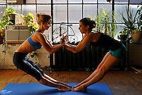 Gregory Holmgren Photography Loft 404 Yoga and Dance Shoot, January 2014, featuring Lulu Lemon yoga wear and Models Roxalana and Jasmin, Hair and Makeup by Jessica Rose Sarkozi.