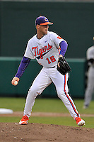 Pitcher Alex Eubanks (16) of the Clemson University Tigers pitches in the sixth inning of a game against the Wofford College Terriers on Tuesday, March 1, 2016, at Doug Kingsmore Stadium in Clemson, South Carolina. Clemson won, 7-0 and Eubanks got the win. (Tom Priddy/Four Seam Images)
