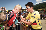 Race leader Yellow Jersey Greg Van Avermaet (BEL) BMC Racing Team with fans at sign on before the start of Stage 11 of the 2018 Tour de France running 108.5km from Albertville to La Rosiere Espace San Bernardo, France. 18th July 2018. <br /> Picture: ASO/Pauline Ballet | Cyclefile<br /> All photos usage must carry mandatory copyright credit (&copy; Cyclefile | ASO/Pauline Ballet)