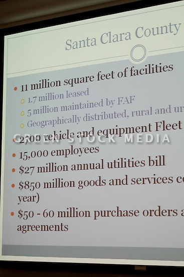 Slide shown by Caroline Judy, Manager of Intragovernmental Support Services, Facilities and Fleet Department, Santa Clara County. This forum entitled Strategies for a Sustainable Santa Clara County: Developing Goals and Planning Tools was held at the Silicon Valley Community Foundation (SVCF) in Mountain View, CA from 9 AM to Noon on 1/25/2008. The event was sponsored by Leagues of Women Voters of Santa Clara County and Office of County Supervisor Liz Kniss.