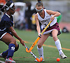 Ella Heaney #11 of Garden City, right, and Kelsi King #5 of Baldwin battle for possession during a Nassau County Conference I varsity field hockey match at Garden City High School on Friday, Sept. 30, 2016. Heaney scored a goal on a feed from by sister Devon Heaney #9 (not in picture) in Garden City's 7-0 win.