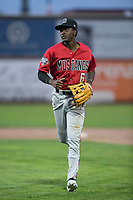 Billings Mustangs left fielder Zeek White (6) jogs off the field between innings of a Pioneer League game against the Ogden Raptors at Lindquist Field on August 17, 2018 in Ogden, Utah. The Billings Mustangs defeated the Ogden Raptors by a score of 6-3. (Zachary Lucy/Four Seam Images)