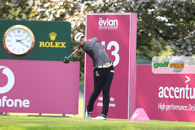 Mi Hyang Lee (KOR) tees off the 13th tee during Sunday's Final Round of the LPGA 2015 Evian Championship, held at the Evian Resort Golf Club, Evian les Bains, France. 13th September 2015.<br /> Picture Eoin Clarke | Golffile