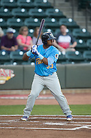 Jeffrey Baez (33) of the Myrtle Beach Pelicans at bat against the Winston-Salem Dash at BB&T Ballpark on April 18, 2016 in Winston-Salem, North Carolina.  The Pelicans defeated the Dash 6-4.  (Brian Westerholt/Four Seam Images)