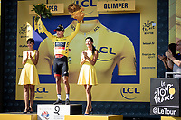 Greg Van Avermaet (BEL/BMC) on podium to receive the Yellow Jersey as a leader in GC. <br /> <br /> Stage 5: Lorient > Quimper (203km)<br /> <br /> 105th Tour de France 2018<br /> ©kramon