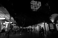 CITY BY NIGHT; buildings, streets, lights, cars and people, Sydney CBD area