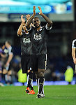 Wes Morgan of Leicester City  celebrates at the end of the game<br /> - Barclays Premier League - Everton vs Leicester City - Goodison Park - Liverpool - England - 19th December 2015 - Pic Robin Parker/Sportimage