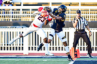 Baltimore, MD - OCT 14, 2017: Richmond Spiders defensive back Daniel Jones (23) intercepts a pass intended for Towson Tigers Jabari Greenwood (7) during game between Towson and Richmond at Johnny Unitas Stadium in Baltimore, MD. The Spiders defeated the Tigers 23-3. (Photo by Phil Peters/Media Images International)