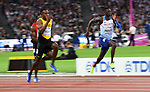 Reece Prescod (GBR, right) and Julian Forte (JAM) in the mens 100m heats. IAAF World athletics championships. London Olympic stadium. Queen Elizabeth Olympic park. Stratford. London. UK. 04/08/2017. ~ MANDATORY CREDIT Garry Bowden/SIPPA - NO UNAUTHORISED USE - +44 7837 394578