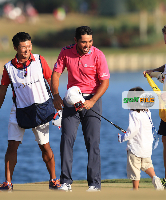 Jason Day (AUS) Champion of The Players 2016, greets son Dash , TPC Sawgrass, Ponte Vedra Beach, Jacksonville.   Florida, USA. 15/05/2016.<br /> Picture: Golffile | Mark Davison<br /> <br /> <br /> All photo usage must carry mandatory copyright credit (&copy; Golffile | Mark Davison)
