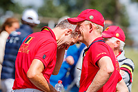 Team Belgium are all smiles after the Cross Country for the CCIO4*-S FEI Nations Cup Eventing. 2019 FRA-Le Grand Complet at Le Haras du Pin. Saturday 10 August. Copyright Photo: Libby Law Photography