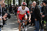 Loic Chetout (FRA) Cofidis on the Ixua a brutal 20% off road climb during Stage 5 of the Tour of the Basque Country 2019 running 149.8km from Arrigorriaga to Arrate, Spain. 12th April 2019.<br /> Picture: Colin Flockton | Cyclefile<br /> <br /> <br /> All photos usage must carry mandatory copyright credit (© Cyclefile | Colin Flockton)