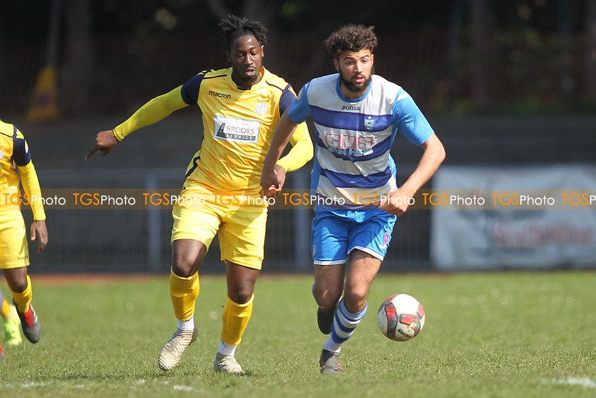 Billy Golledge of Ilford Dan Okah of IHullbridge during Ilford vs Hullbridge Sports, Essex Senior League Football at Cricklefields Stadium on 13th April 2019