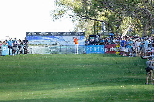 28.02.2016. Perth, Australia. ISPS HANDA Perth International Golf. Brett Rumford (AUS) drives from the 17th Par 3 tee during his final round.