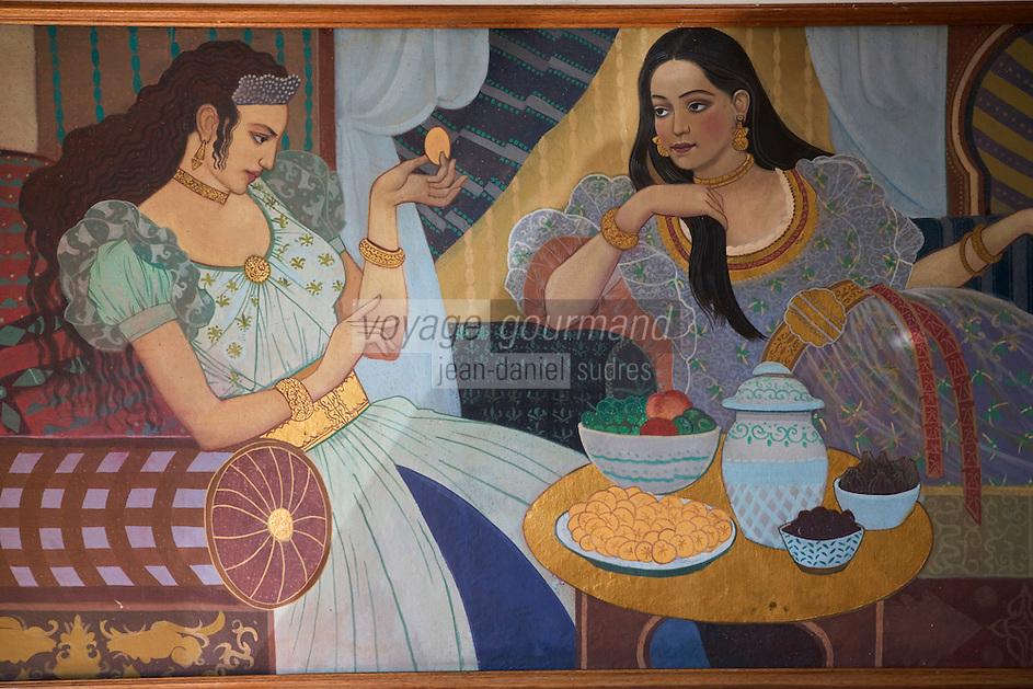Afrique/Afrique du Nord/Maroc/Fèz: détail des fresques d'un salon du Palais Jamai