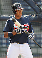 11 April 2008: Infielder Diory Hernandez (7) of the Mississippi Braves, Class AA affiliate of the Atlanta Braves, in a game against the Mobile BayBears at Trustmark Park in Pearl, Miss. Photo by:  Tom Priddy/Four Seam Images