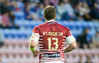 Picture by Allan McKenzie/SWpix.com - 13/07/2017 - Rugby League - Betfred Super League - Wigan Warriors v Warrington Wolves - DW Stadium, Wigan, England - Sean O'Loughlin's golden shirt back.