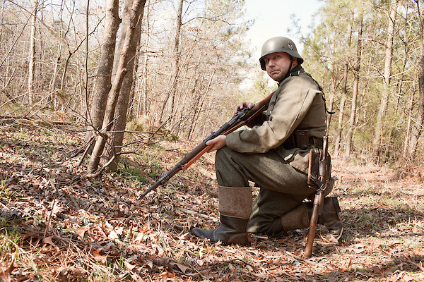 February 18, 2012. Enfield, NC.. Reenactors depict German infantry units in a reenactment of the Battle of the Rhineland, which took place September 15, 1944- March 21, 1945..
