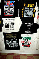 LOS ANGELES - AUG 17:  Bootleg T-Shirts at the OJ Simpson Pop-up Museum  at the  Coagula Curatorial Gallery on August 17, 2017 in Los Angeles, CA