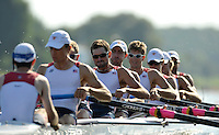 Poznan, POLAND,   USA LM8+ move away from the start at  the 2009 FISA World Rowing Championships. held on the Malta Rowing lake, Sunday  23/08/2009  [Mandatory Credit. Peter Spurrier/Intersport Images]