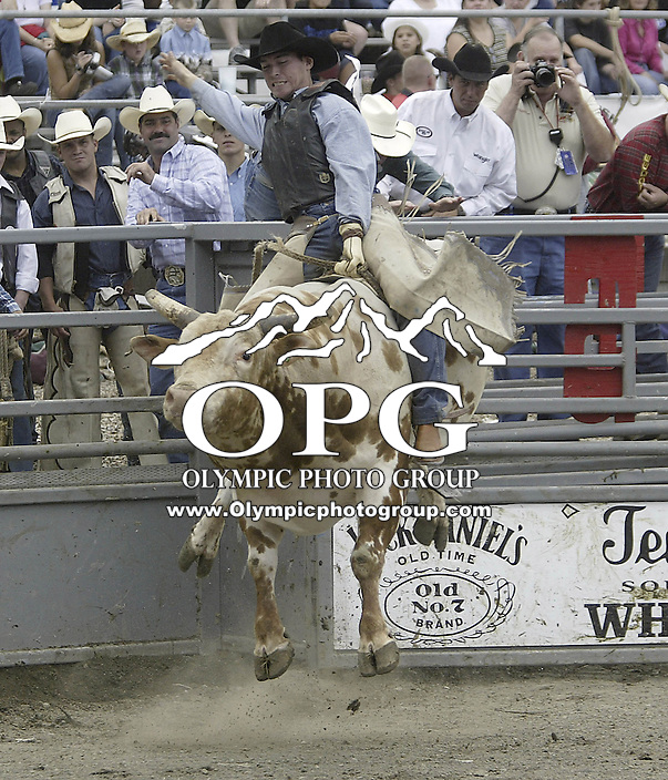 29 Aug 2004: Bull Rider J C Bean rides the bull Hippity Hop during the PRCA 2004 Extreme Bulls competition in Bremerton, WA.