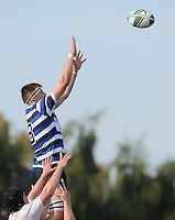 28th September 2013; /c8/ reaches to catch a lineout ball for Corinthians. Ulster Bank League Division 1B, Dublin University v Corinthians, Sydney Parade, Dublin. Picture credit: Tommy Grealy / Actionshots.ie