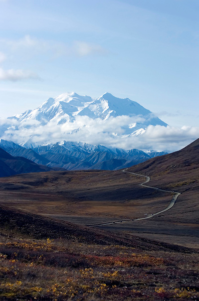 Mount McKinley towers over Denali Park Road on Sept. 15, 2008. The 20,320-foot mountain is North America's tallest peak.