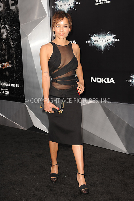 WWW.ACEPIXS.COM . . . . . .July 16, 2012...New York City...Zoe Kravitz attends 'The Dark Knight Rises' New York Premiere at AMC Lincoln Square Theater on July 16, 2012 in New York City ....Please byline: KRISTIN CALLAHAN - ACEPIXS.COM.. . . . . . ..Ace Pictures, Inc: ..tel: (212) 243 8787 or (646) 769 0430..e-mail: info@acepixs.com..web: http://www.acepixs.com .