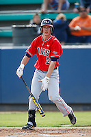 Cory Lebrun #21 of the Gonzaga Bulldogs bats against the Loyola Marymount Lions at Page Stadium on March 28, 2013 in Los Angeles, California. (Larry Goren/Four Seam Images)