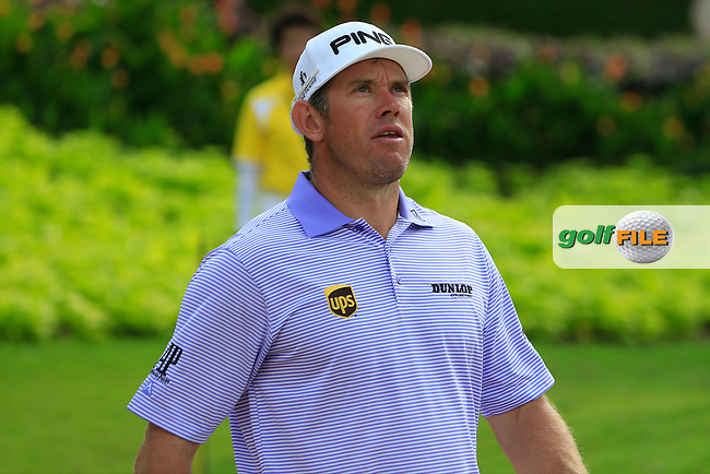 Lee Westwood (ENG) on the 15th tee during Round 1 of the Maybank Malaysian Open at the Kuala Lumpur Golf &amp; Country Club on Thursday 5th February 2015.<br />