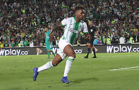 BOGOTÁ - COLOMBIA, 29-01-2020:Gustavo Torres del Atlético Nacional  celebra después de anotar el cuarto gol de su equipo partido entre La Equidad y Atlético Nacional por la fecha 2 de la Liga BetPlay I 2020 jugado en el estadio Nemeso Camacho El Campín de la ciudad de Bogotá. / Gustavo Torres of Atletico Nacional  celebrates after scoring the fourth goal of his team during match between La Equidad and Atletico Nacional  for the date 2 as part of BetPlay League I 2020 played at Nemesio Camacho El Campin stadium in Bogota.Photo: VizzorImage / Felipe Caicedo / Staff
