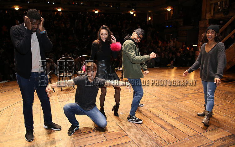 """Carvens Lissaint, Thayne Jasperson, Sabrina Imamura, Terrance Spencer and Sasha Hollinger during The Rockefeller Foundation and The Gilder Lehrman Institute of American History sponsored High School student #eduHam matinee performance of """"Hamilton"""" Q & A at the Richard Rodgers Theatre on December 5,, 2018 in New York City."""