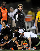 DC United head coach Ben Olsen looks at the side line referee after midfielder Andy Najar gets fouled.  The New England Revolution defeated DC United 3-2 in US Open Cup match , at the Maryland SoccerPlex, Tuesday  April 26, 2011.