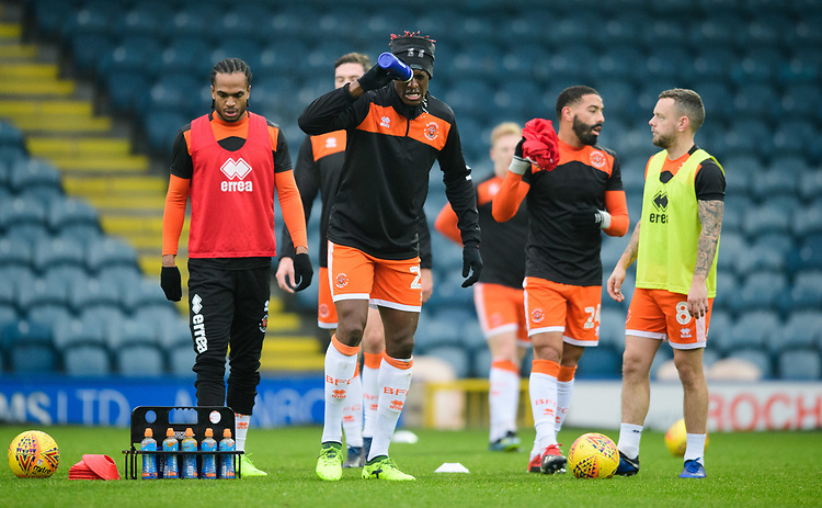 Blackpool's Armand Gnanduillet during the pre-match warm-up<br /> <br /> Photographer Chris Vaughan/CameraSport<br /> <br /> The EFL Sky Bet League One - Rochdale v Blackpool - Wednesday 26th December 2018 - Spotland Stadium - Rochdale<br /> <br /> World Copyright © 2018 CameraSport. All rights reserved. 43 Linden Ave. Countesthorpe. Leicester. England. LE8 5PG - Tel: +44 (0) 116 277 4147 - admin@camerasport.com - www.camerasport.com