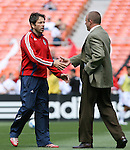 06 May 2007: Chivas head coach Preki (l) and DC head coach Tom Soehn (r) greet each other before the game.  DC United defeated CD Chivas USA 2-1 at RFK Stadium in Washington, DC in a Major League Soccer 2007 regular season game.