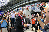 Thierry Henry walks off the field after a photo oportunity prior to being announced at a New York Red Bulls press conference at Red Bull Arena in Harrison, NJ, on July 15, 2010.