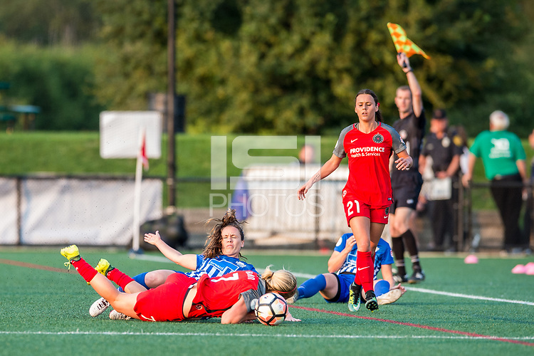 Boston, MA - Sunday September 10, 2017: Allysha Chapman and Lindsey Horan during a regular season National Women's Soccer League (NWSL) match between the Boston Breakers and Portland Thorns FC at Jordan Field.
