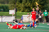 Boston, MA - Sunday September 10, 2017: Allysha Chapman and Lindsey Horan during a regular season National Women's Soccer League (NWSL) match between the Boston Breakers and Portland Thorns FC at Jordan Field.