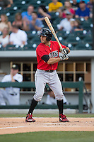 Steve Lombardozzi (2) of the Indianapolis Indians at bat against the Charlotte Knights at BB&T BallPark on June 20, 2015 in Charlotte, North Carolina.  The Knights defeated the Indians 6-5 in 12 innings.  (Brian Westerholt/Four Seam Images)