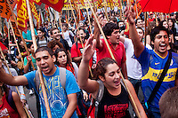 People take part in march during May Day celebrations in Buenos Aires, Argentina on May 1, 2013. Photo by Juan Gabriel Lopera / VIEWpress.